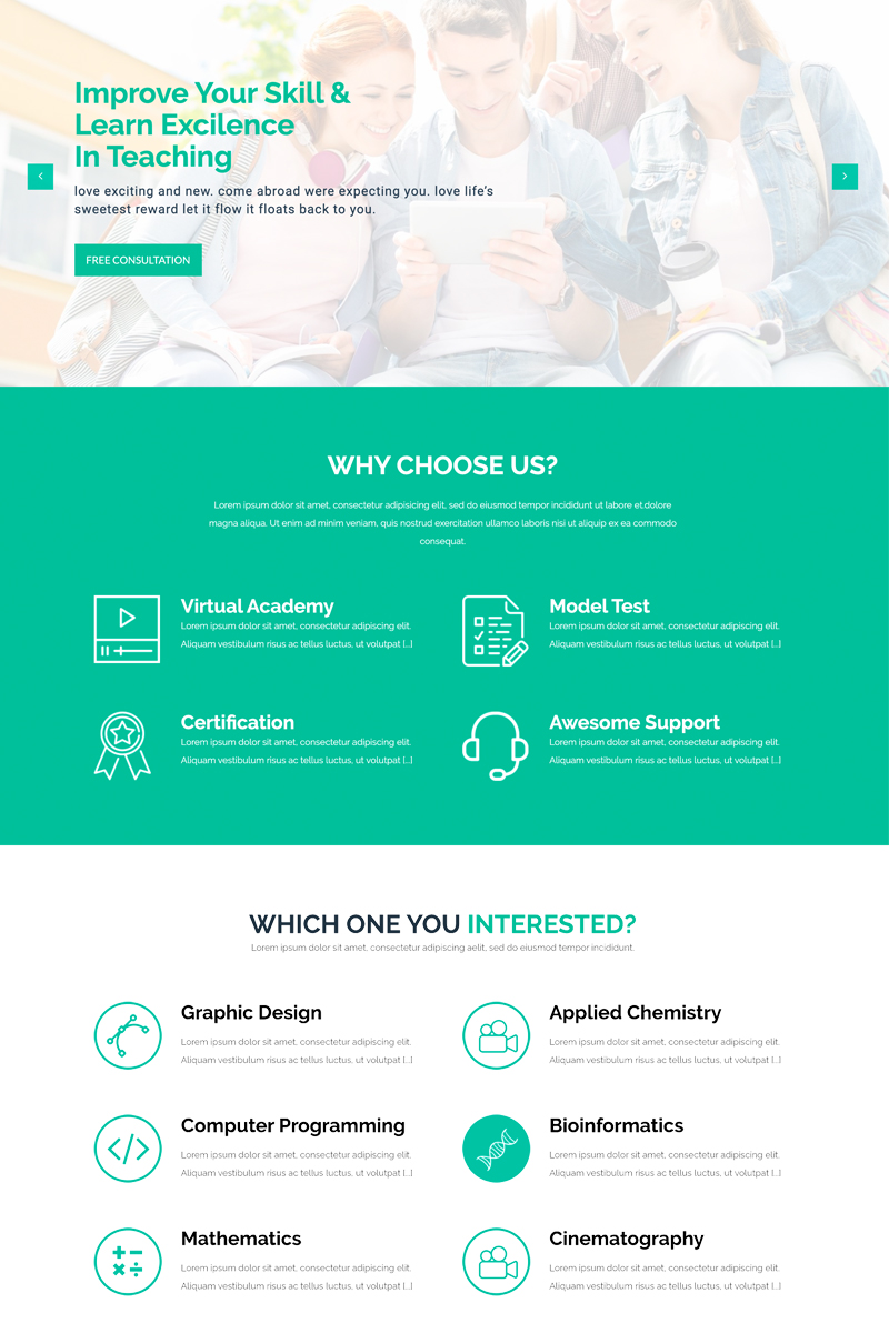 """LMS Education - Html5"" Responsive Website template №99221"