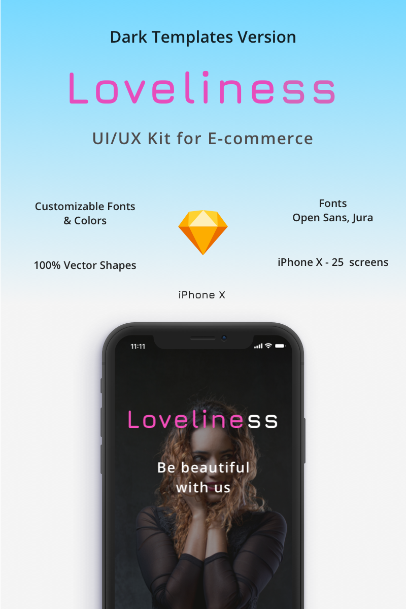 Loveliness - UI/UX Dark version E-commerce Set for iPhone X Sketch Template