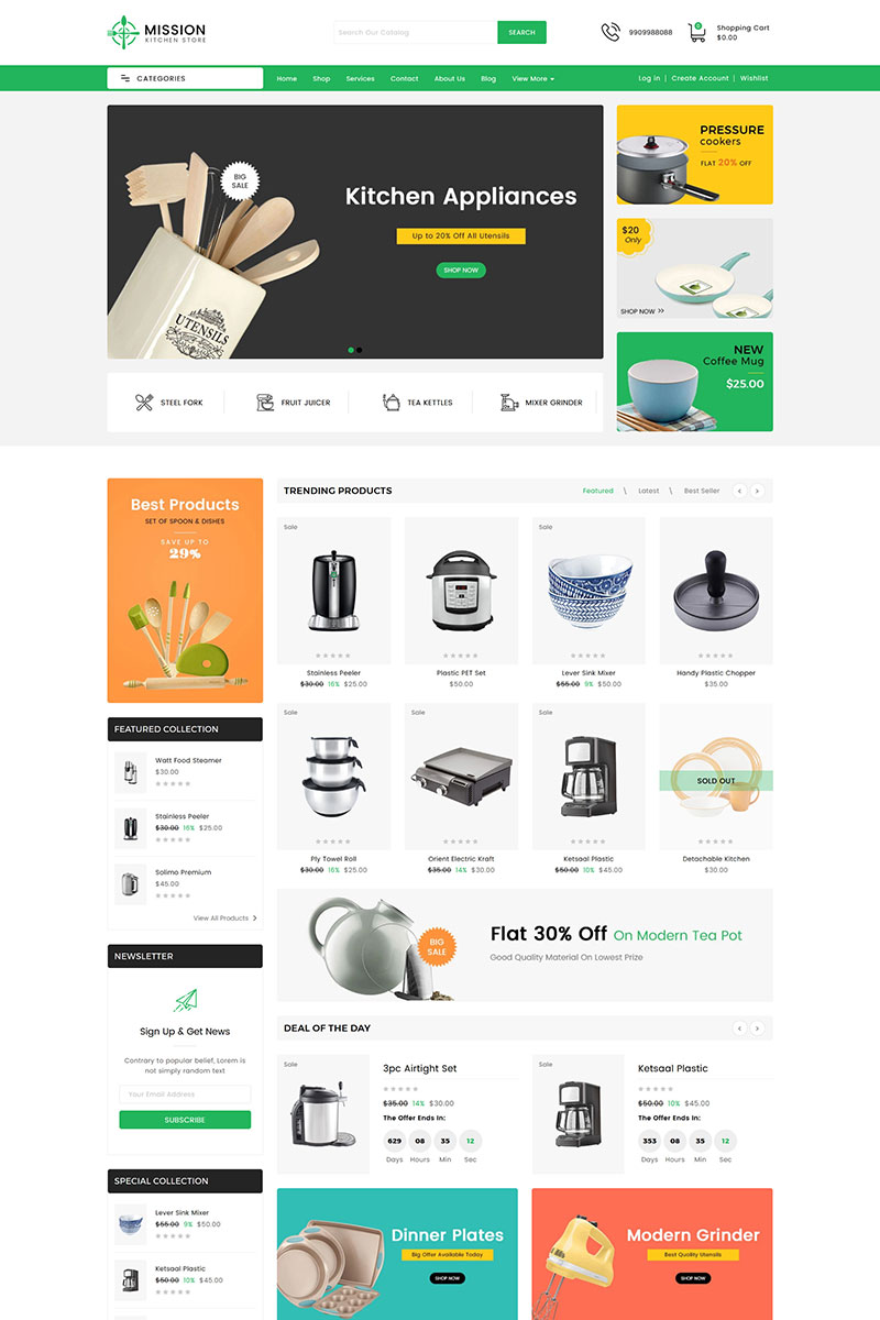 Responsivt Mission Kitchen Sectioned Shopify-tema #99223