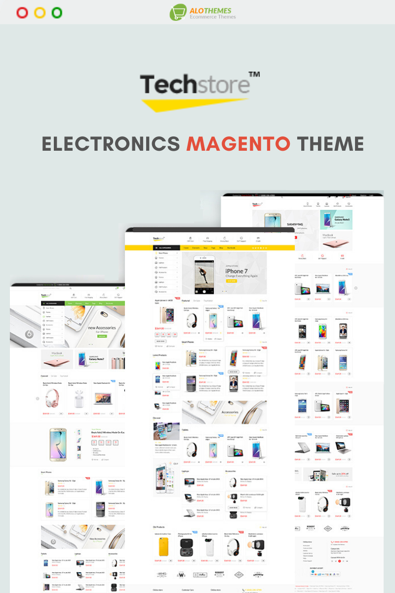 """Techstore- Responsive Digital & Electronic - Marketplace"" 响应式Magento模板 #99214"