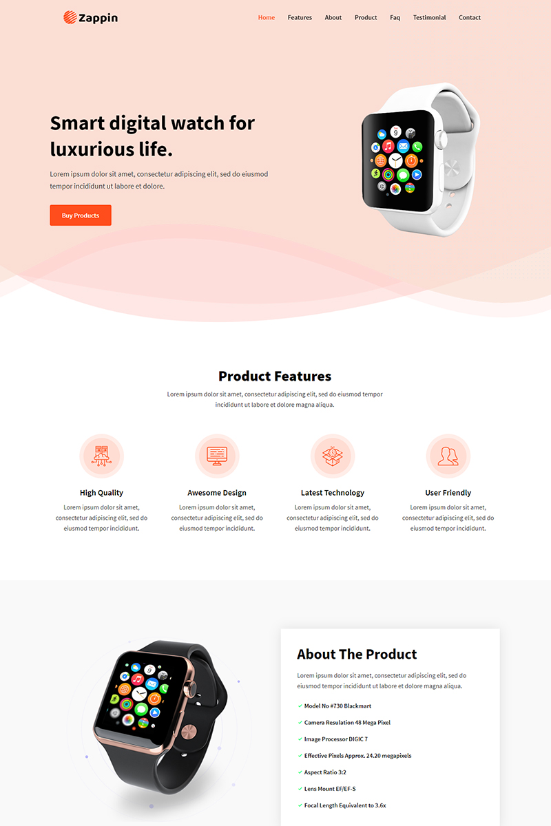 "Template di Landing Page Responsive #99220 ""Zappin - Product"""
