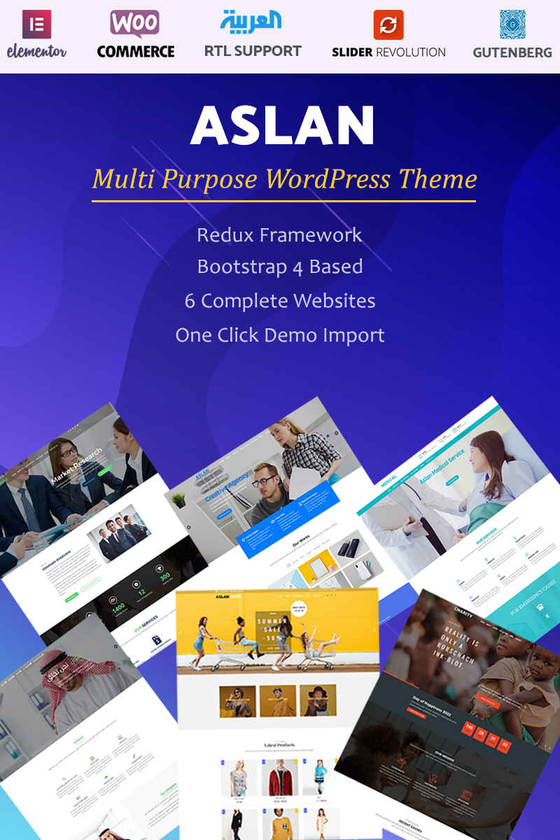 "WordPress Theme namens ""Aslan - Multi-Purpose"" #99222"