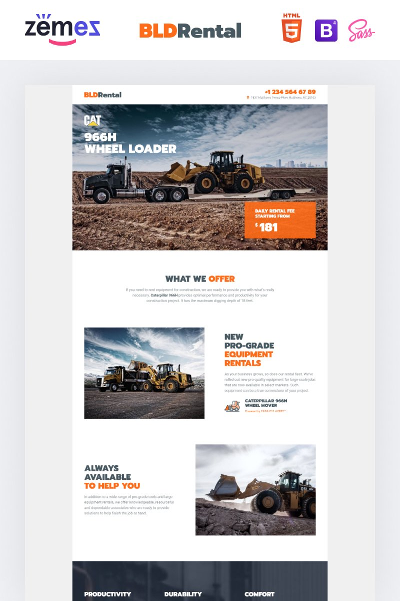 """BLDRental - Equipment Rental"" Responsive Landingspagina Template №99334"