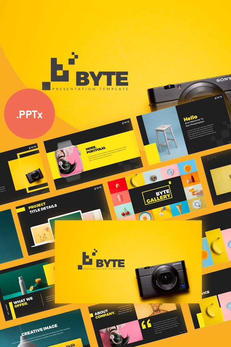"""Byte Creative Presentation PowerPoint Template"" PowerPoint Template №99330"