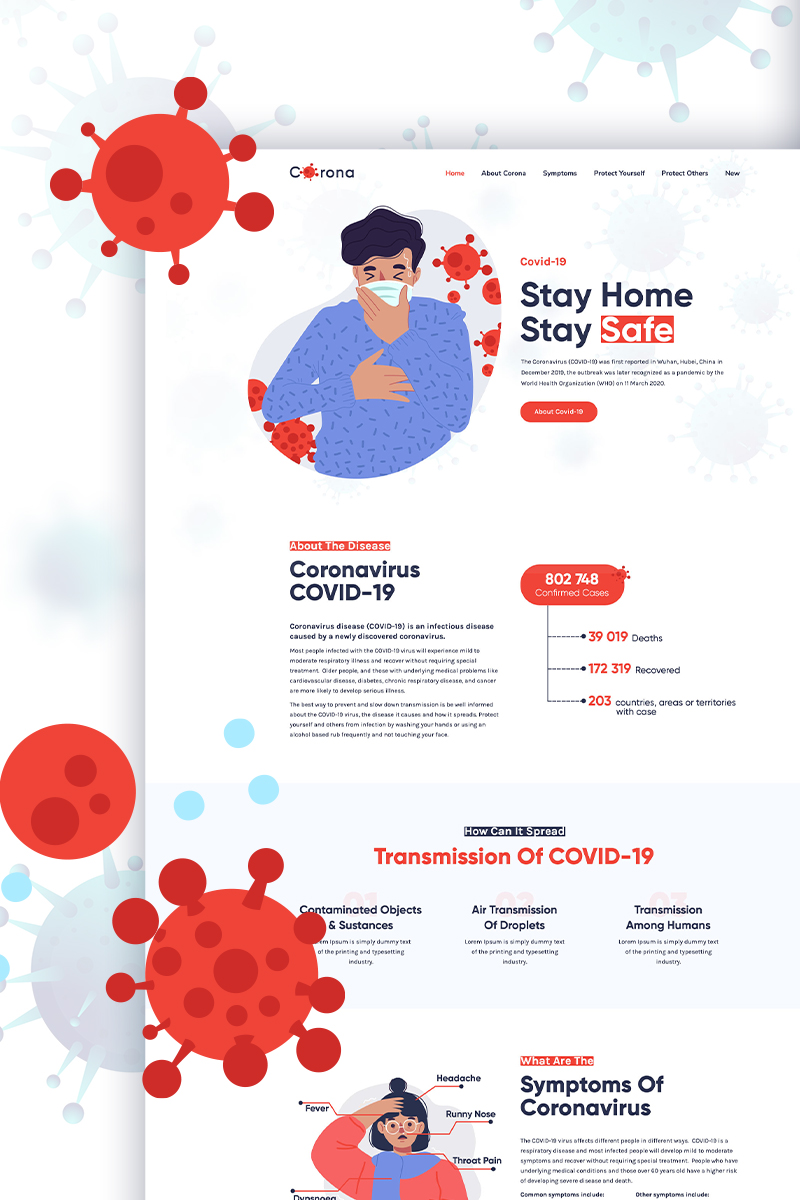 Corona - Coronavirus (COVID-19) Medical Prevention & Informatics PSD Template