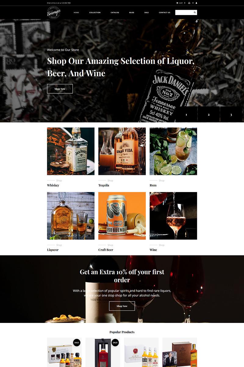 """""""Drinks & Beverages"""" modèle MotoCMS pour commerce électronique adaptatif #99333"""