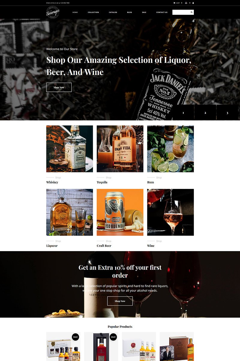 """Drinks & Beverages"" Responsive MotoCMS Ecommercie Template №99333"