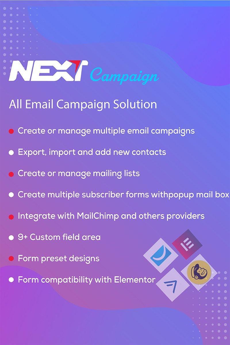 "Modello Plugin per WordPress Responsive #99341 ""Email Campaign / Newsletter / Subscribe  - Next Campaign"""