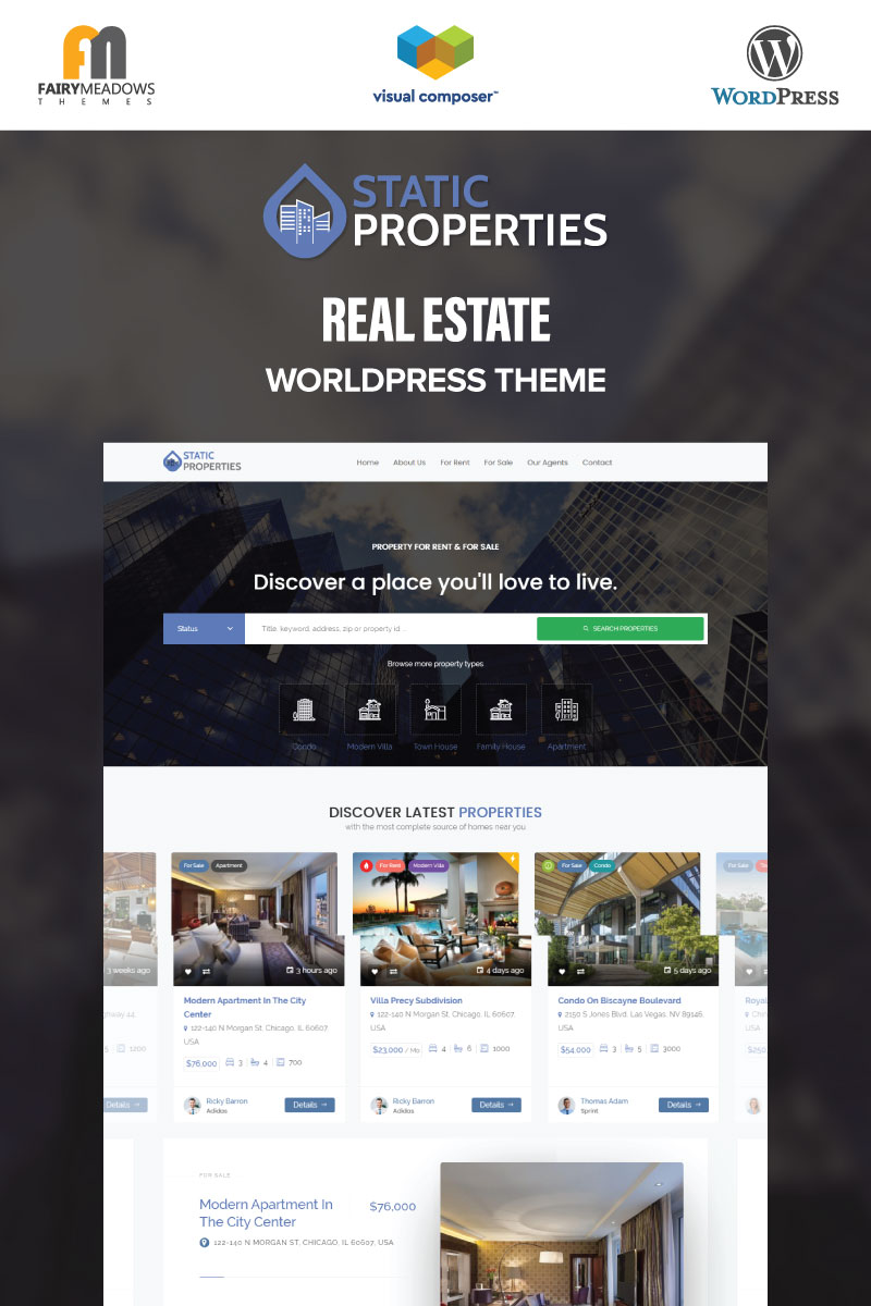 "Responzivní WordPress motiv ""Static Properties - Real Estate"" #99338"
