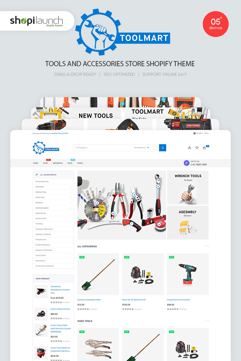 """ToolMart - Tools & Accessories Store Responsive"" Shopify模板 #99337"