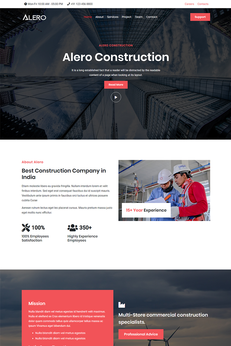 Alero - Construction & Industry HTML5 Landing Page Template