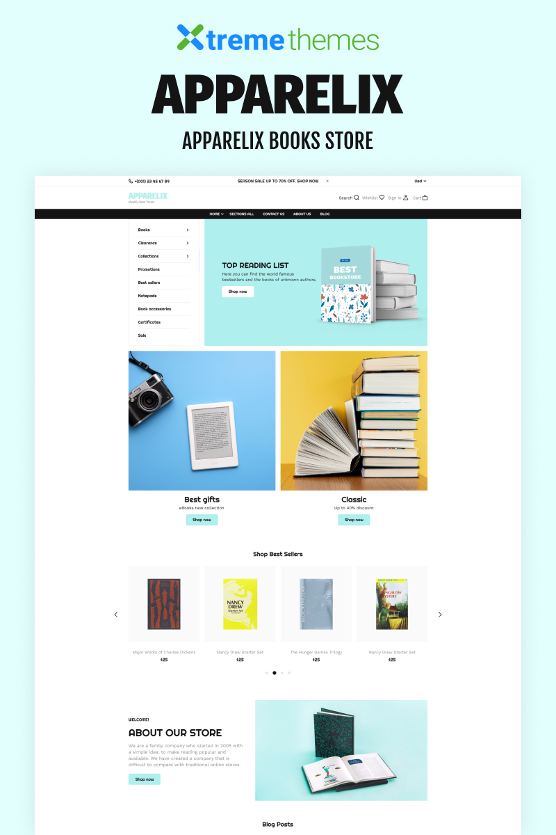 """""""Apparelix Books Online Store Template"""" Responsive Shopify Thema №99434"""