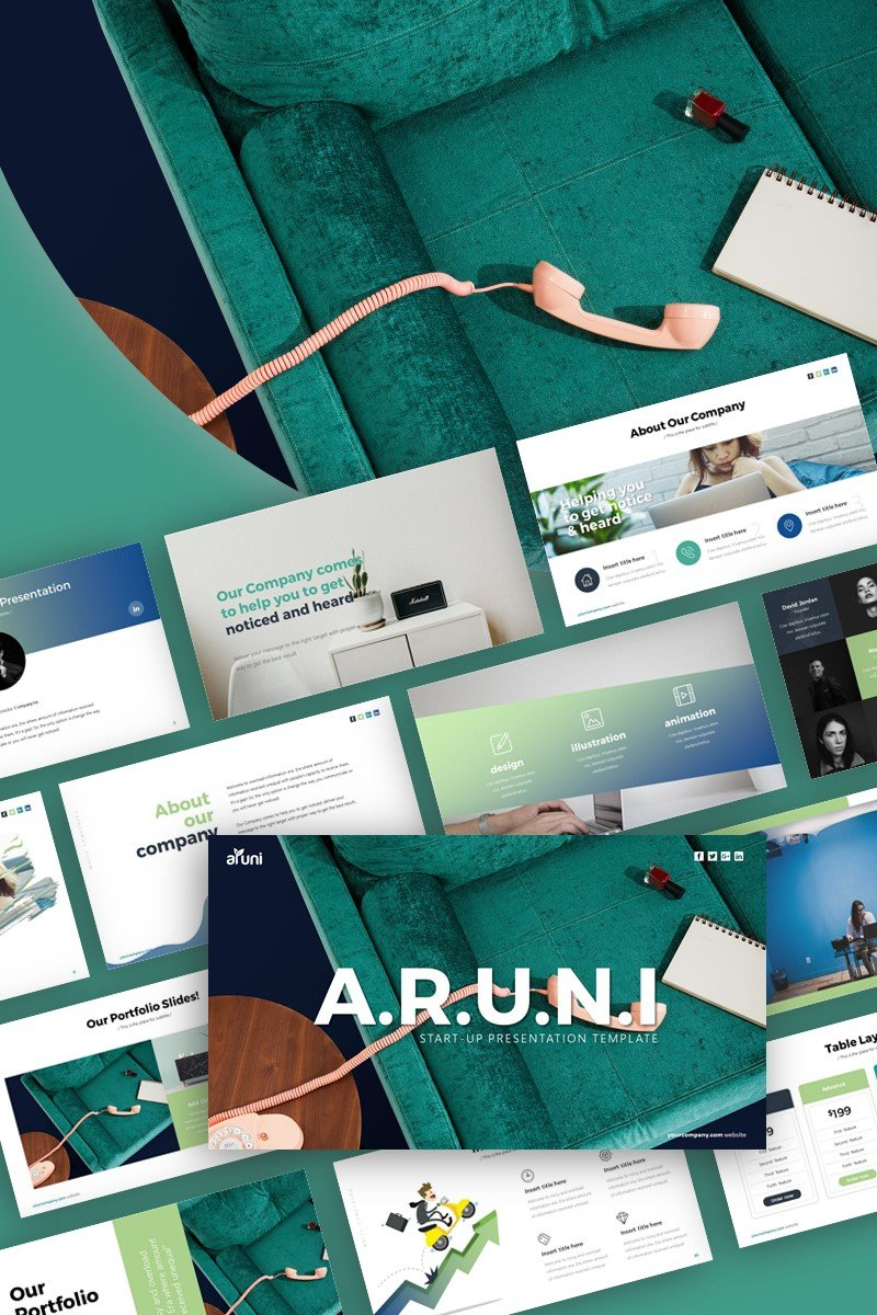 Aruni Start-up Business Presentation PowerPoint sablon 99402