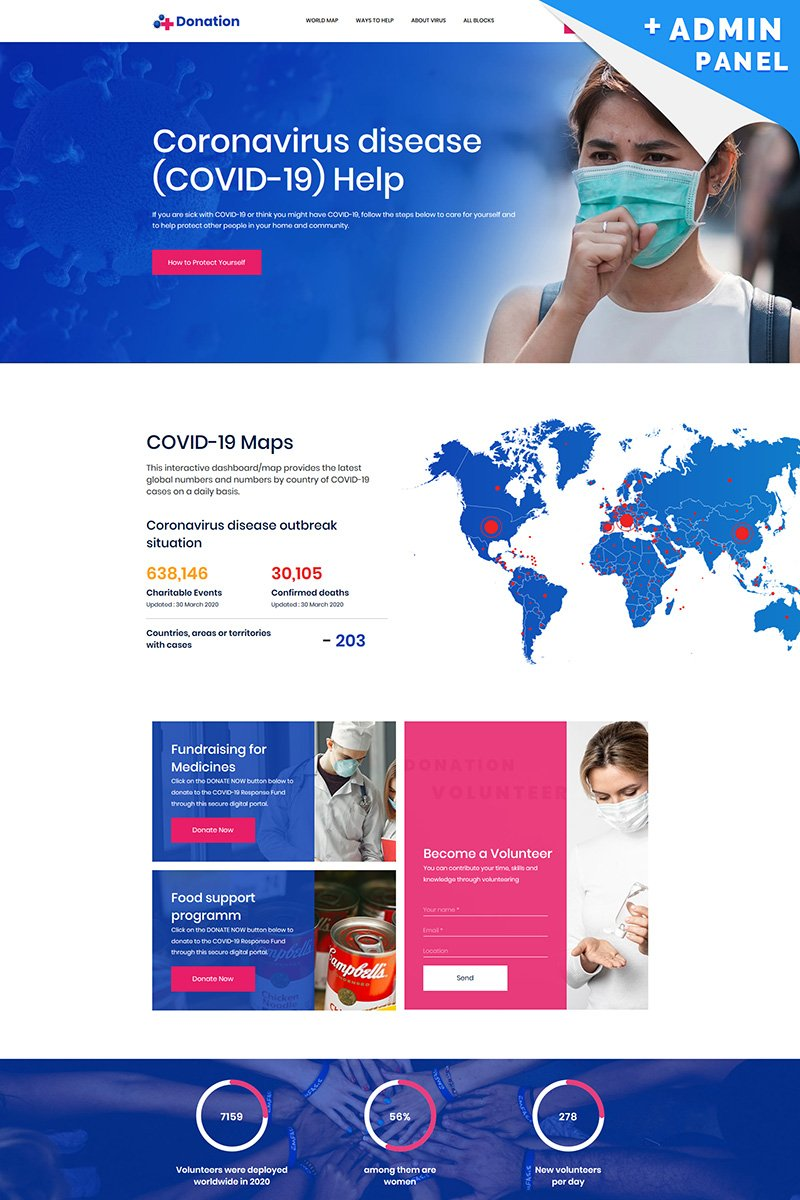 "Landing Page Template namens ""Coronavirus (COVID-19) Donations"" #99435"