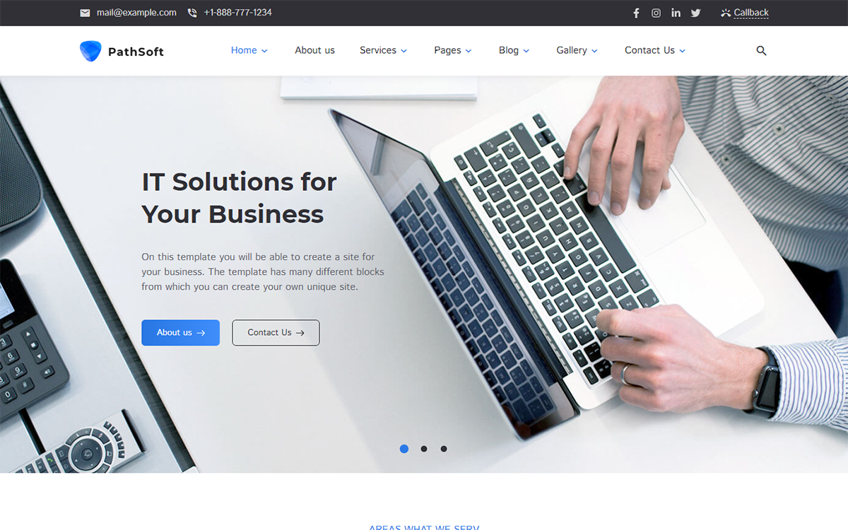 """PathSoft - IT Solutions for Your Business Services"" Responsive WordPress thema №99496"