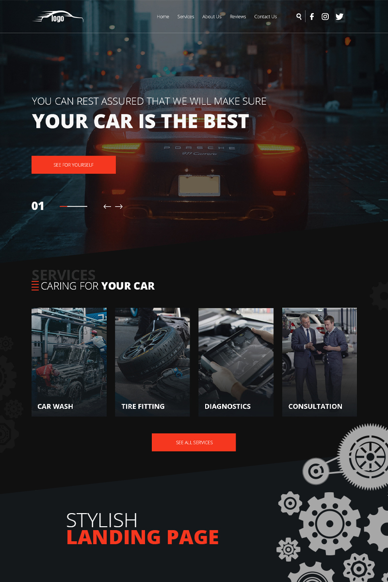 "PSD šablona ""Car service"" #99432"