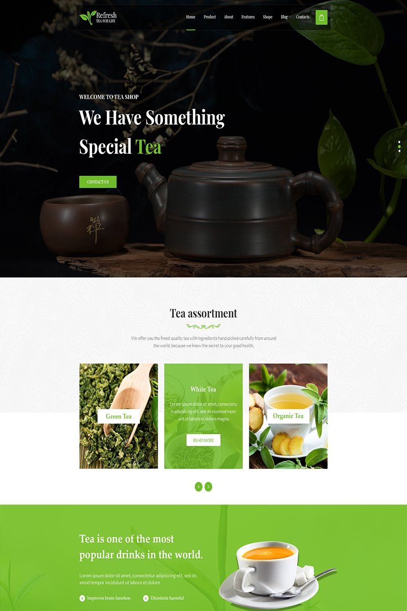 Refresh Tea - Website PSD Template PSD Template
