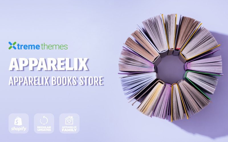 Responsivt Apparelix Books Online Store Template Shopify-tema #99434