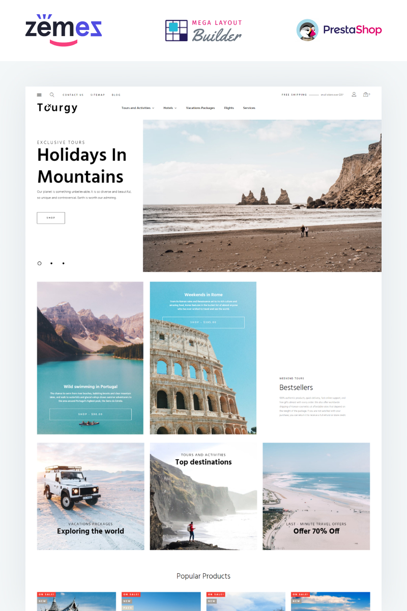 """Tourgy - Travel Agency eCommerce Template"" - адаптивний PrestaShop шаблон №99433"