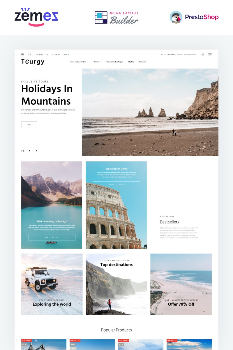 """Tourgy - Travel Agency eCommerce Template"" Responsive PrestaShop Thema №99433"