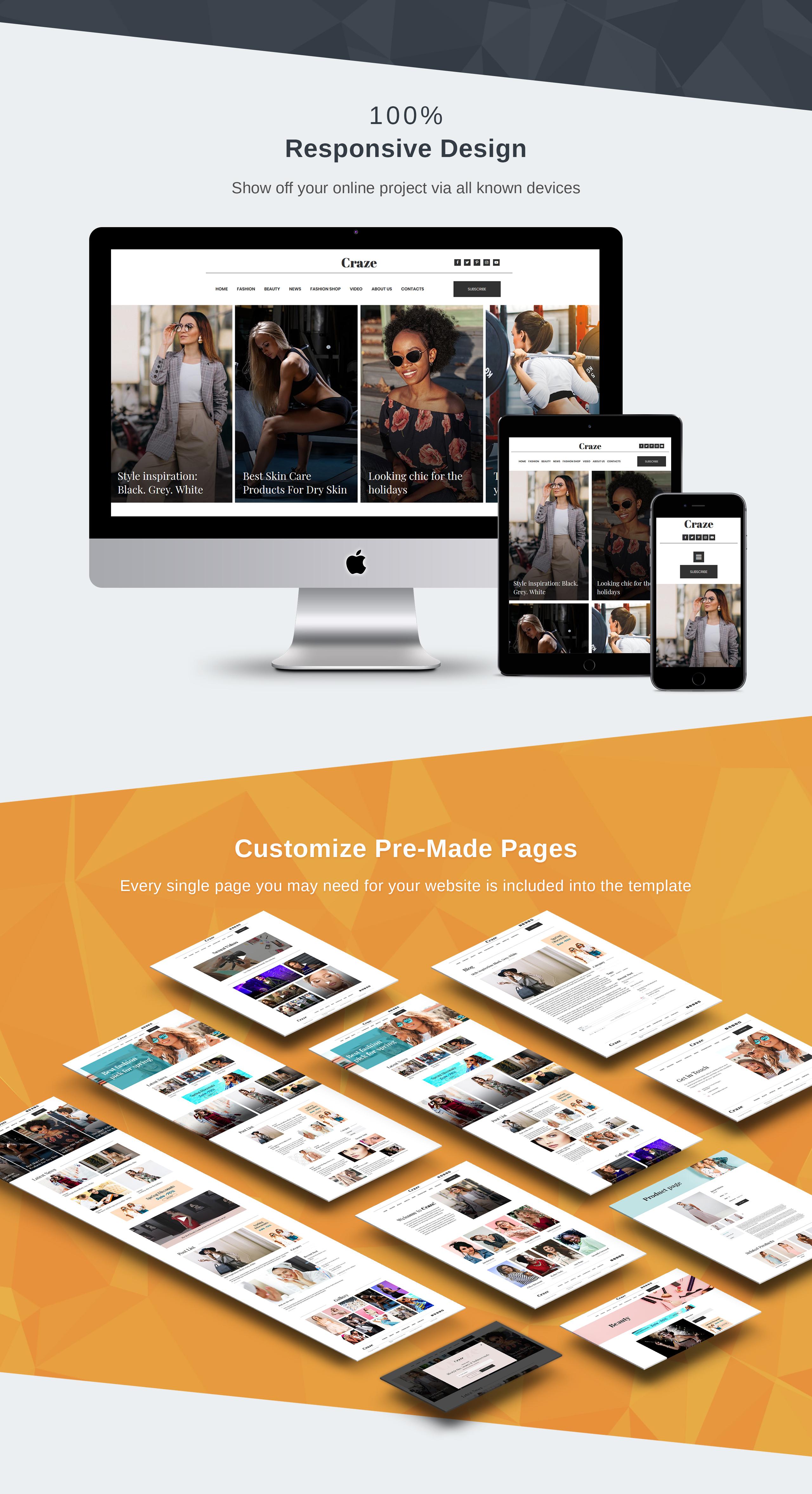 Craze - Online Fashion Magazine Moto CMS 3 Template