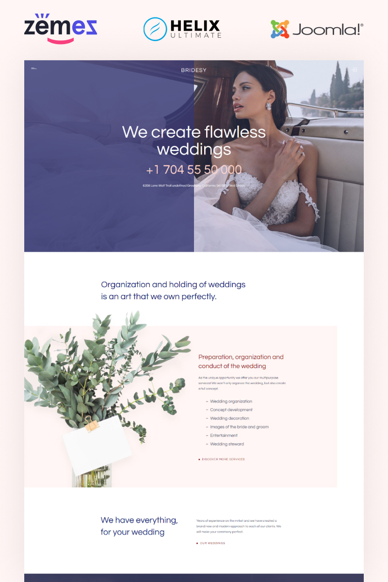 """Bridesy - Wedding Planner"" - адаптивний Joomla шаблон №99501"