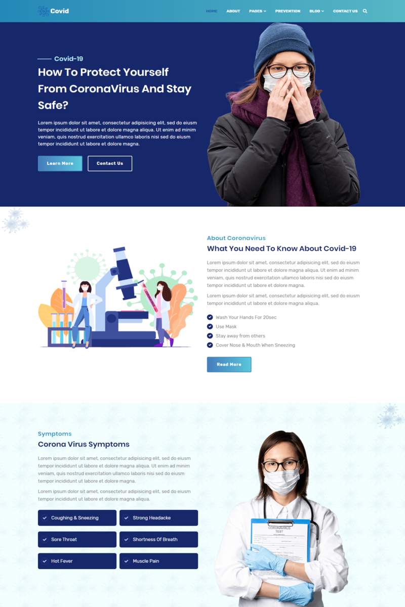 """Covid - Coronavirus Medical Prevention"" Responsive Website template №99500"
