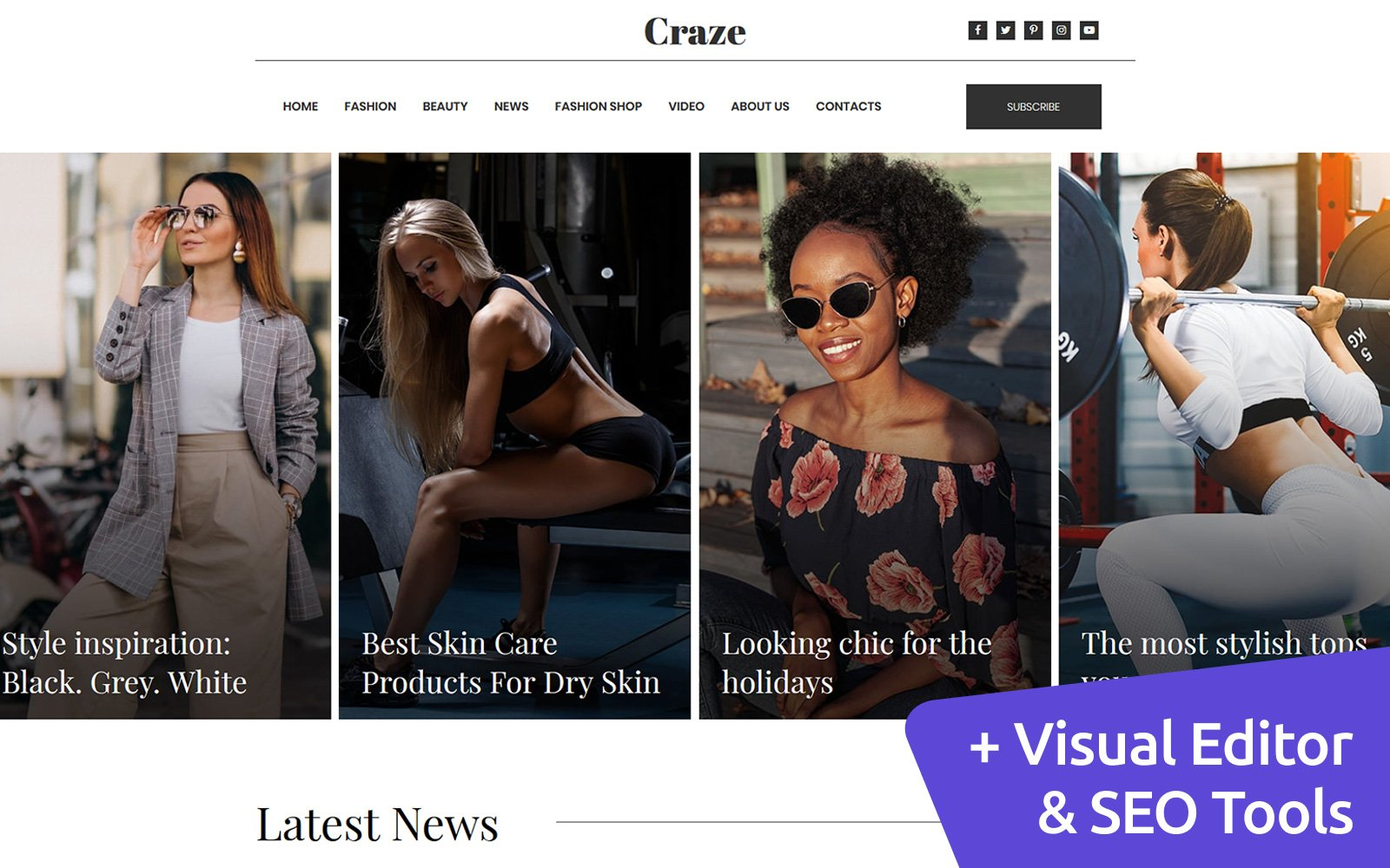 Craze - Online Fashion Magazine Templates Moto CMS 3 №99503
