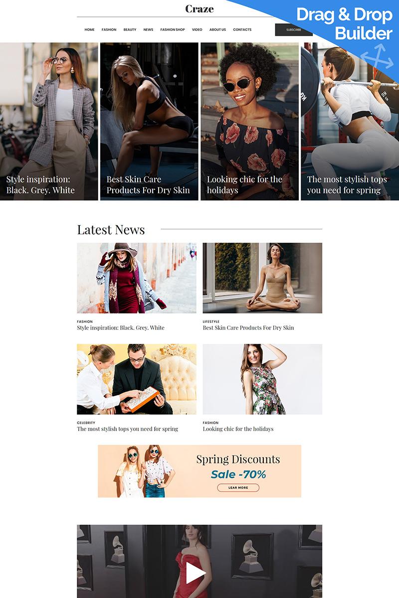 """Modello Moto CMS 3 Responsive #99503 """"Craze - Online Fashion Magazine"""""""