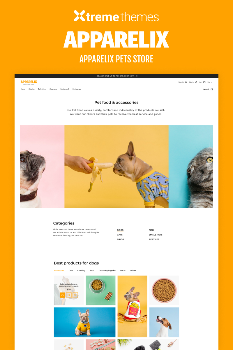 """""""Apparelix Pets Online Store Template"""" Responsive Shopify Thema №99605"""