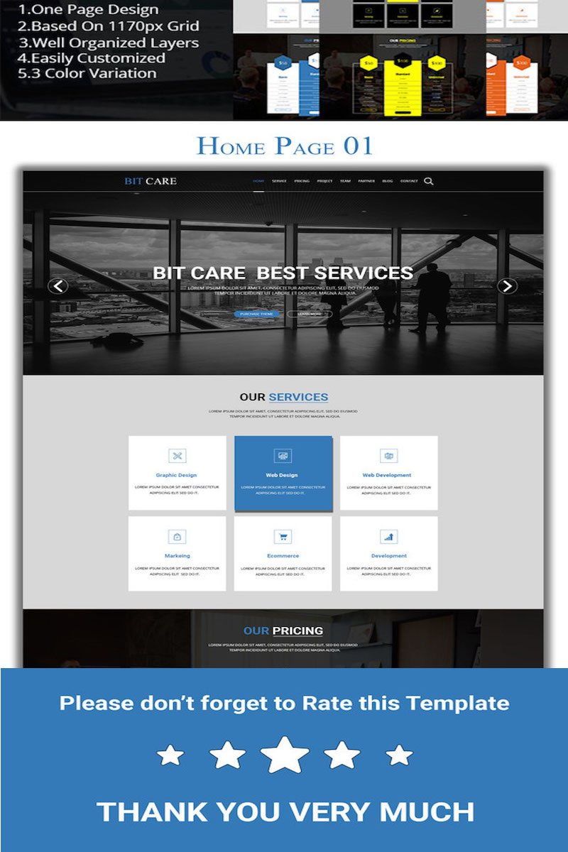 BITCARE - Creative Corporate PSD Template
