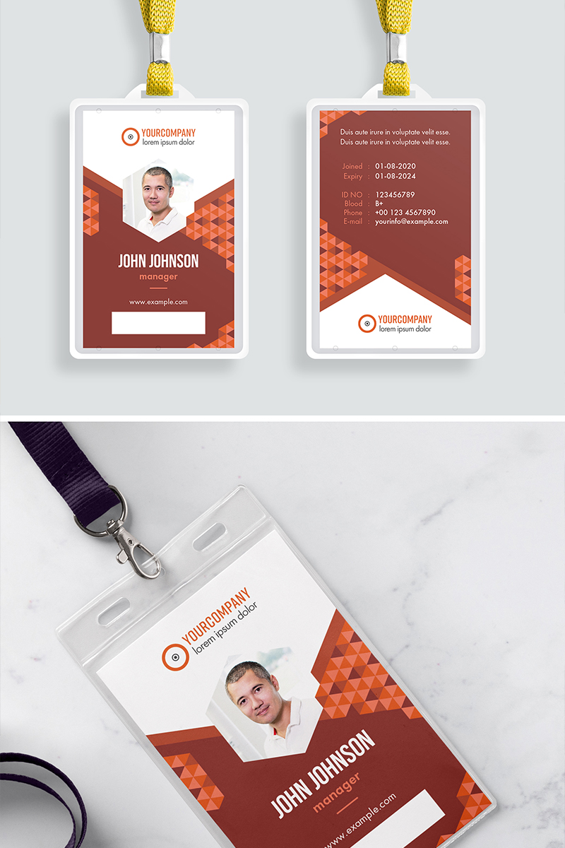 ID Card Layout with Orange Accents Corporate Identity Template