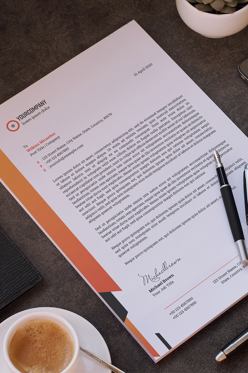 Letterhead Layout with Colorful Elements Corporate Identity Template
