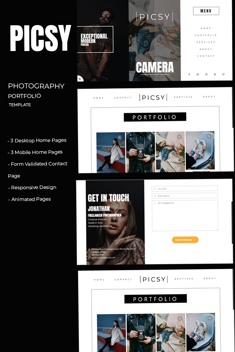 Picsy - Photography Portfolio HTML Website Template