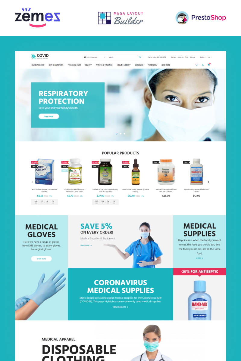 "PrestaShop Theme namens ""COVID - Medical Supplies eCommerce Template"" #99604"