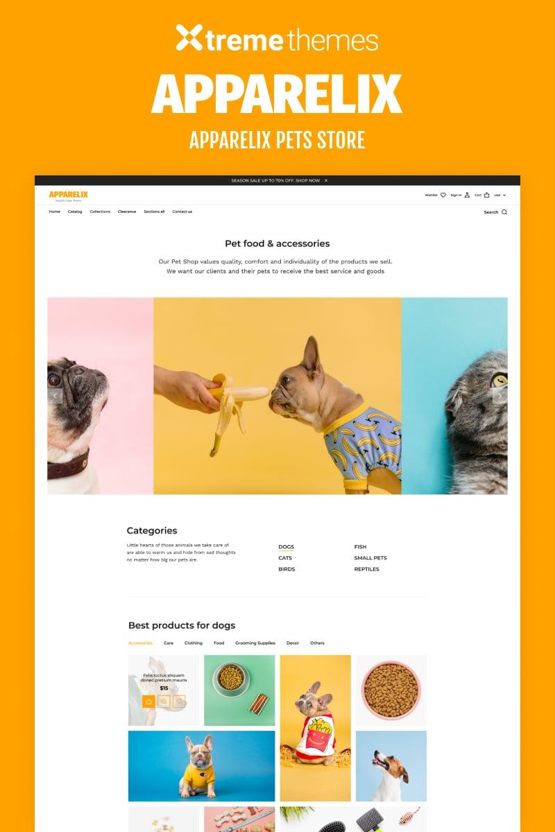 Responsivt Apparelix Pets Online Store Template Shopify-tema #99605
