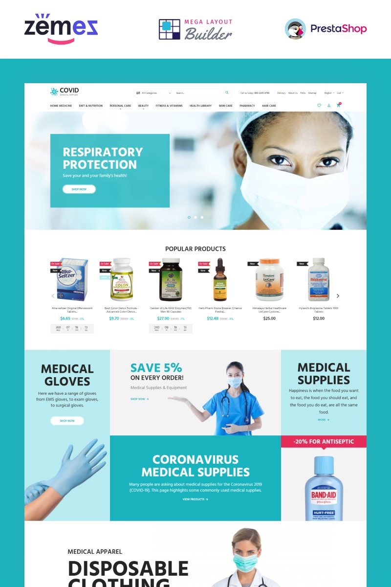 "Responzivní PrestaShop motiv ""COVID - Medical Supplies eCommerce Template"" #99604"