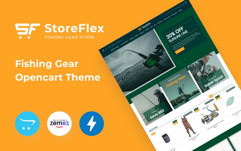 """Storeflex Fishing Store Template"" thème OpenCart adaptatif #99606"
