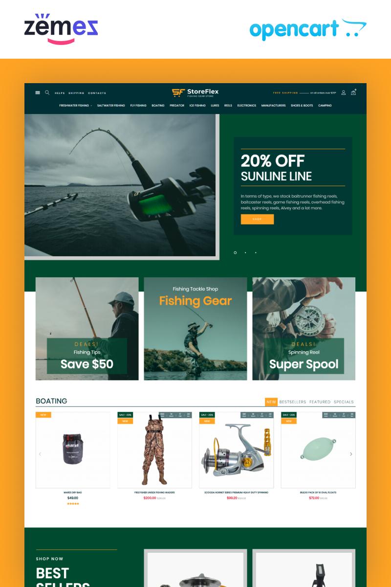 """Tema OpenCart Responsive #99606 """"Storeflex Fishing Store Template"""""""