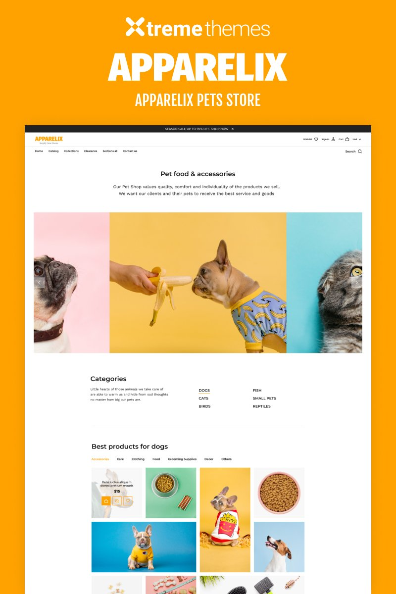 """Tema Shopify """"Apparelix Pets Online Store Template"""" #99605"""