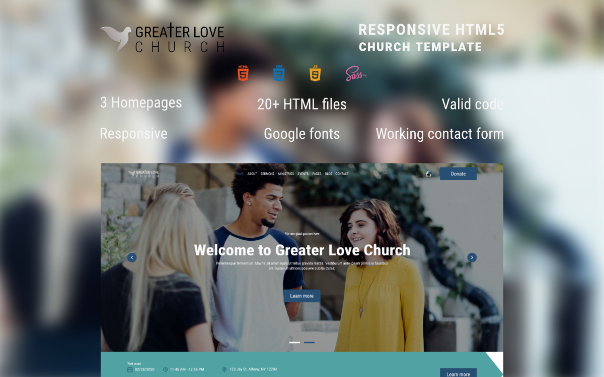 "Website Vorlage namens ""Greater Love Church - HTML Church"" #99611"