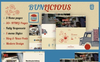 Bunlicious | Food truck and Restaurant HTML 5 Website Template