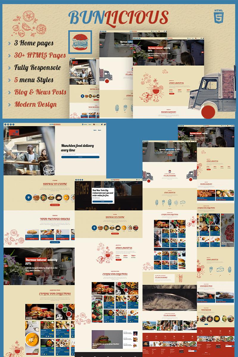 """Bunlicious   Food truck & Restaurant HTML 5"" modèle web adaptatif #99726"