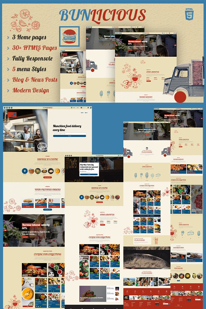 """Bunlicious | Food truck & Restaurant HTML 5"" Responsive Website template №99726"