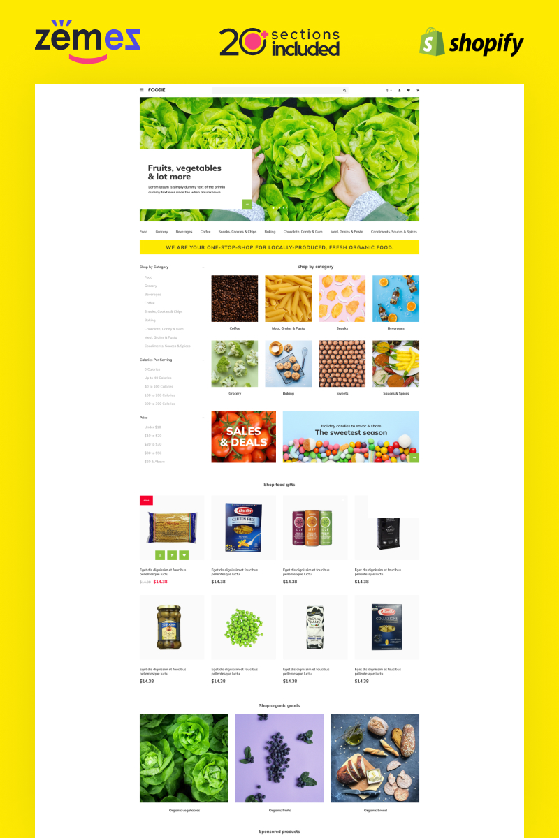 """""""Foodie - Shopify Delivery Store Template"""" 响应式Shopify模板 #99734"""