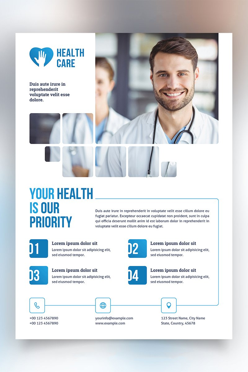 Healthcare Flyer Layout with Blue Accents Corporate Identity Template