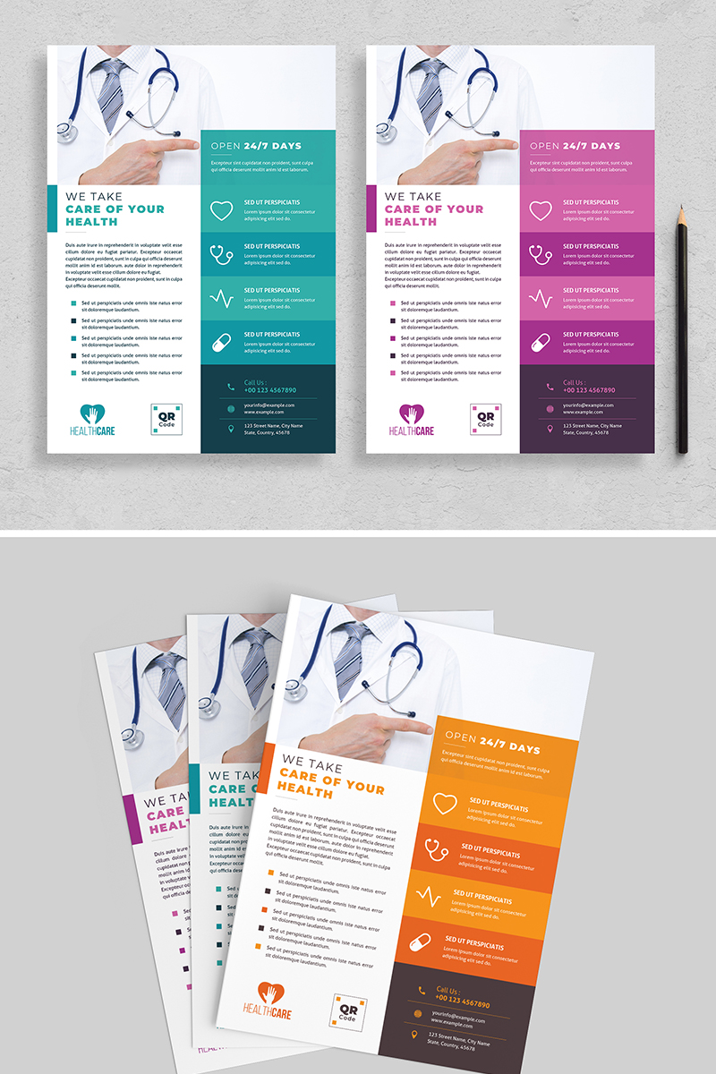 Healthcare Flyer Layout with Colorful Accents Corporate Identity Template