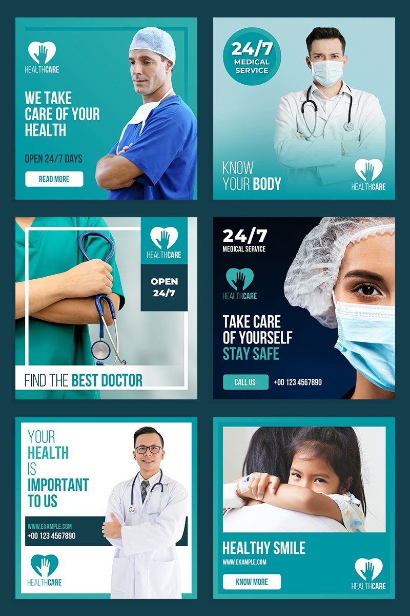 Healthcare Post Layout Set Social Media