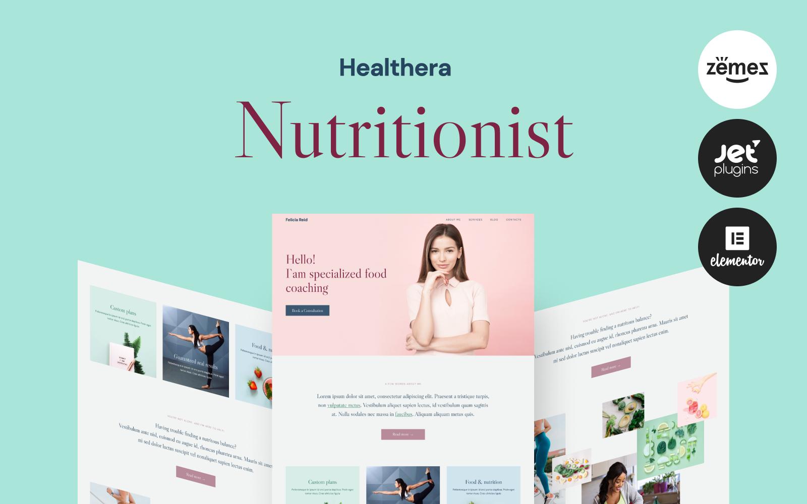 """Healthera - Certified Nutritionist"" - адаптивний WordPress шаблон №99733"