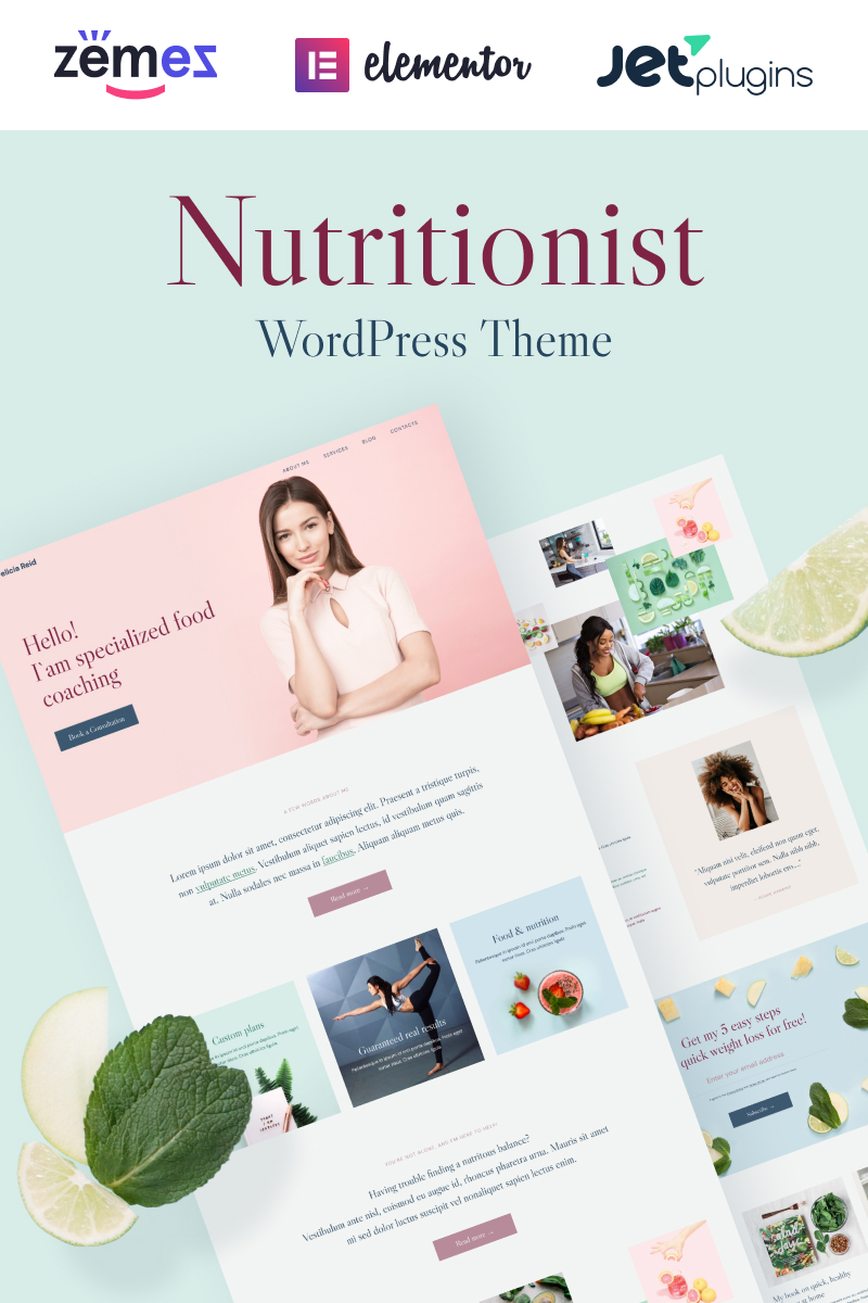 """Healthera - Certified Nutritionist"" Responsive WordPress thema №99733"